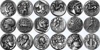 9 Famous Greek Coins Alexander Athena Zeus Apollo Stocking Stuffer (SET9-S)