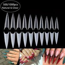500/1000Pcs Long Stiletto Salon Full Cover Acrylic False Nail Art Tips Uv Gel Us