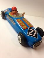 COLLECTIBLE TIN PLATE CLOCKWORK  CIGAR RACING CAR FRICTION WIND UP WITH KEY