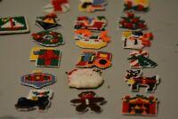 VTG Finished Plastic Canvas Handmade Christmas Ornaments-Big Variety!-28 Ct.