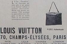 PUBLICITE LOUIS VUITTON LE SAC DAUPHINE EXTRA PLAT DE 1925 FRENCH ADVERT AD PUB