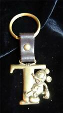 Vintage Disney Collectible Mickey Mouse Brass Bronze Leather Key Chain