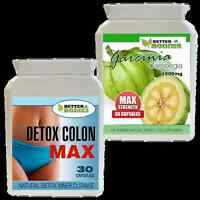30 GARCINIA CAMBOGIA 1000MG + 30 DETOX MAX WEIGHT LOSS DIET Appetite Control