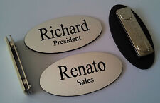 """Custom OVAL Name Tags Silver - Black letters w/ magnetic attachment 1.25"""" x 2.5"""""""