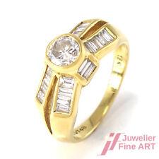 Diamantring ca. 1,5 ct W/SI davon der Brillantsolitär ca. 0,5 ct 18K Gold - 5,1g