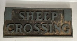 """Authentic Vintage/Antique Wooden Carved """"SHEEP CROSSING"""" Embossed Farm Sign"""