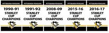 Pittsburgh Penguins Replica Stanley Cup Banners (2016-17 Included)
