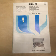 Vtg Philips Owner Manual for the GA 202 & GC 002 Turntable