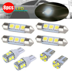 8pcs White LED Car Interior Bulbs Package Kit For Dome Map License Plate Lights