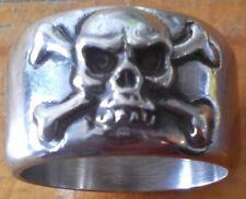 Stainless Old Pirate Skull & Cross Bones Band Biker Ring Custom Size Ship R103ss