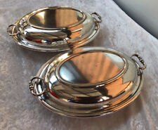 Pair Of Vintage Phoenix Plate Silver Plate Lidded Serving Dishes / Tureens