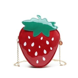 Strawberry Chain Shoulder Bags Women Patent Leather Crossbody Bag