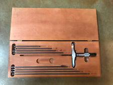 Starrett No 445m Metric Depth Micrometer Set 0 225mm Range 4 Base