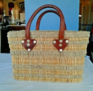 Vintage Hand  Woven Straw Wicker Tote Bag With Leather Handles