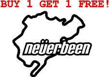 NEVERBEEN NURBURGRING STICKER/DECAL CAR/VAN/WINDOW/WALL FUNNY BUY 1 GET 1 FREE!!