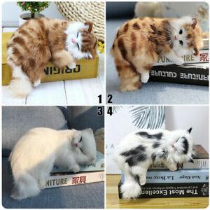 Realistic Lifelike Cat Plush Toy Simulation Stuffed Animal Doll Fluffy Best S5Q6