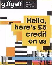 Giffgaff NANO/Micro/Standard SIM 4G Free £5 Credit / Unlimited Text & Internet