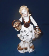 """Peasant Farm Girl w Baskets Of Picked Flowers Brown White Gold Ceramic 8.5"""" High"""