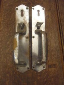 W R Leggott art deco worn chrome thumb latch door handles mortise door catch 7F