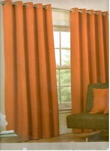 Burnt Orange  Basket Weave Rich Textured Design Eyelet Curtains Fully Lined