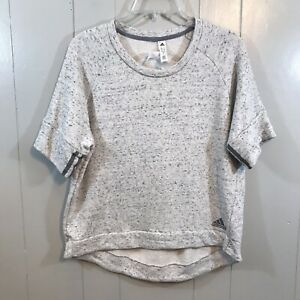 Adidas Gray French Terry Short Sleeve Slim Fit Round Neck Active Wear Top L