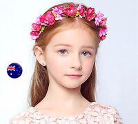 Lady flower Girl Fairy wedding Hot Pink bride Party Hair Headband Crown Garland