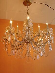 ANTIQUE 12  LIGHTS CRYSTAL GLASS CHANDELIER MARIA THERESA Lots of  CRYSTALS