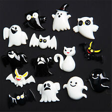 10pcs Resin Mixed Halloween Ghost Bat Flatback Cabochon Jewelry DIY Accessories