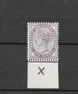 QV 1881 Penny Lilac Inverted X control SG 172 Mint