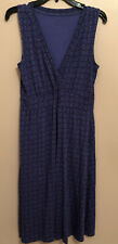 LL Bean Size Medium Purple Print Sleeveless Rayon V-Neck Dress