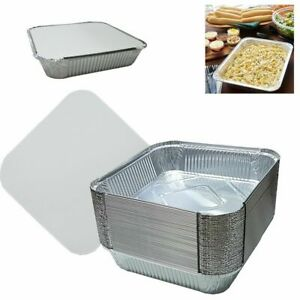 """9""""x9""""x2"""" Large Aluminium Foil Food Containers Trays + Lids Takeaway Baking Pies"""