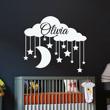 Personalized Name Wall Decals Clouds Decal Girl Vinyl Sticker Baby Bedroom MN734