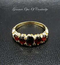 Vintage 1973 9ct Gold Ornate Garnet Five Stone Ring Size O 3g