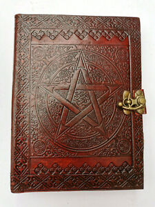 SALE Pentacle leather bound clasp journal Book of Shadows steampunk A5 Pagan