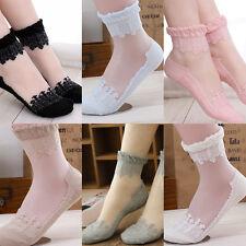 Womens Ultrathin Transparent Beautiful Crystal Lace Elastic Floral Short Socks