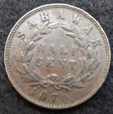 1870 Sarawak 1/2 Half Cent Coin - Ref; PCC