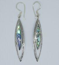 LONG Abalone Shell Marquise Dangle Earrings in 925 Sterling Silver -6.5 cm  #J11