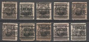USA Scott #  308  Chicago Illinois  IL Precancel Lot of 10 stamps (308-3)