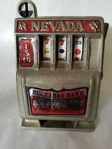 Vintage Nevada Buckaroo Slot Machine Coin Bank Gambling Casino *works