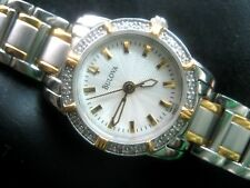 BULOVA 98R155 16 REAL DIAMONDS LADIES DRESS WATCH S/S & G/P WHITE TEXTURED DIAL