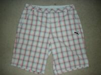 Men's PUMA Golf Dri Fit Orange Plaid Flat Front Shorts Size 36