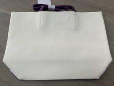 Calvin Klein White Purple Faux Leather Tote Shopper Bag Read Description