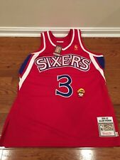 Authentic Mitchell & Ness NBA Allen Iverson Sixers Red Jersey Size 44 L