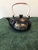 Dark Blue Chinese Style Glazed Peacocks Theme Teapot