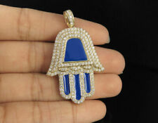 Men's 1.80ct Real Diamond Blue Enamel Hamsa Hand Pendant In 10K Yellow Gold FN