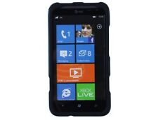 Rubberized Hard Plastic Cover Black Phone Protector Case Cases for HTC Titan II