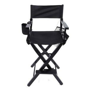 New Directors Chair 30 Inch Canvas Tall Seat Black Wood Folding Hair Stylist