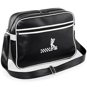 Unisex Ska Man Original Retro Messenger Bag,Embroidered Logo. Mod. Two Tone