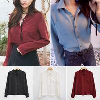 Womens V-Neck Chiffon Blouse Tops Long Sleeve Button Down Casual Loose Shirts