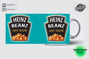 Heinz Baked Beans Mug Cup Coffee Tea  Personalised Any Name Birthday Customised